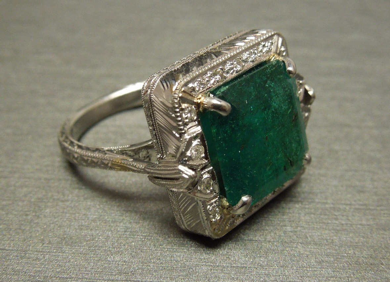 deco emerald ring 6 82tcw platinum engraved c1930