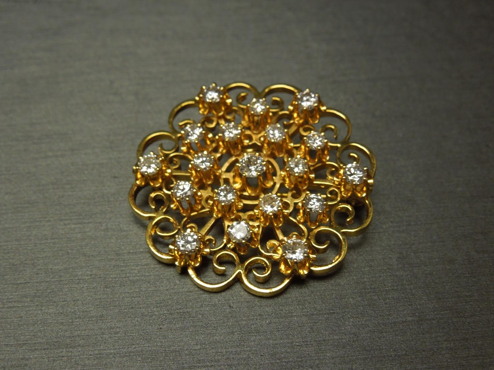 Victorian Diamond Star Brooch Pendant 2 00 Tcw 14k Gold