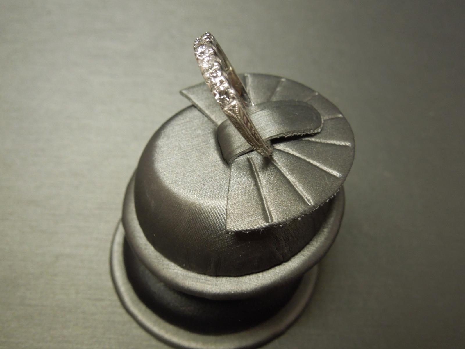 Vintage Platinum Diamond Wedding Band 040cts Engraved