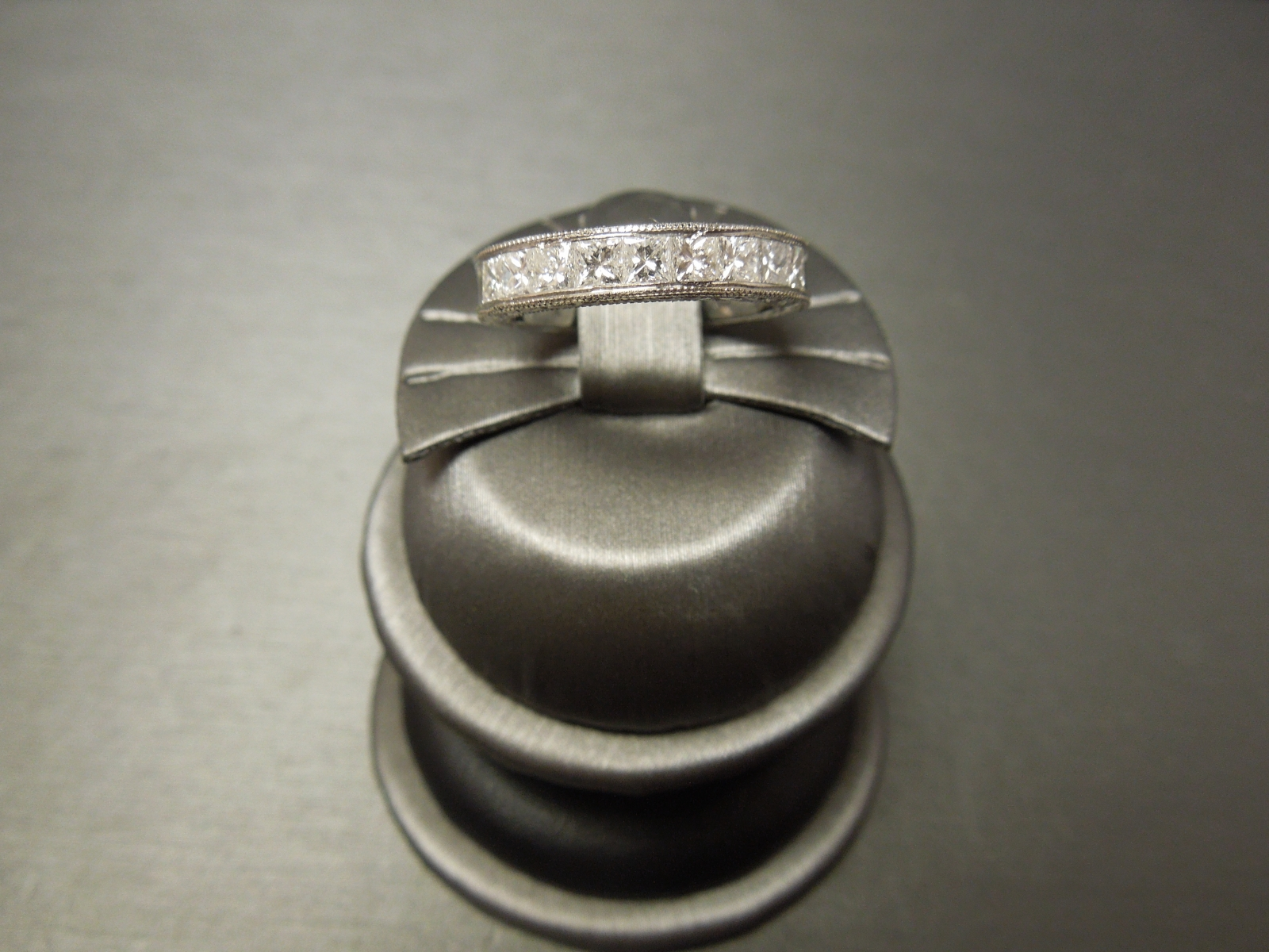 Art Deco Platinum Wedding Band 125cts Diamond Engraved