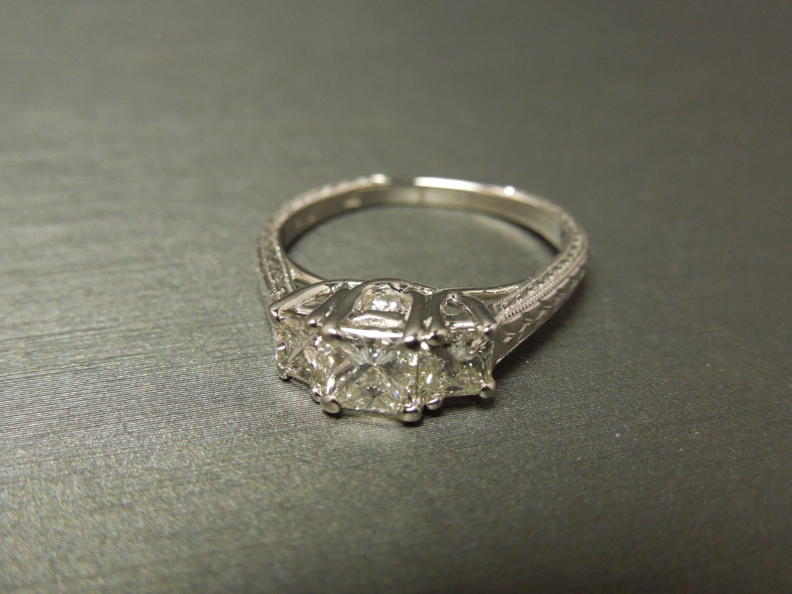 Vintage 3 Stone Diamond Engagement Ring Engraved Plat