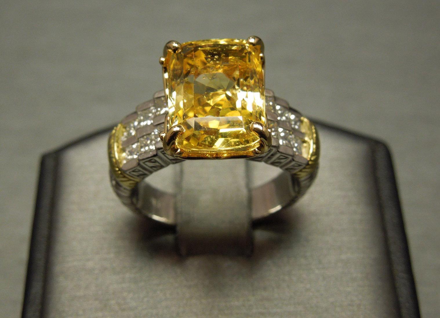 Gia Natural Yellow Sapphire Ring 11 55 Tcw Plat Amp 18k