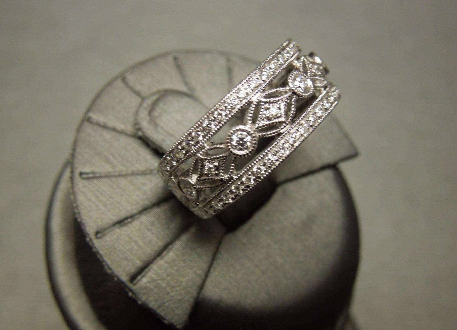 Estate Filigree Wide Diamond Wedding Band 18KT
