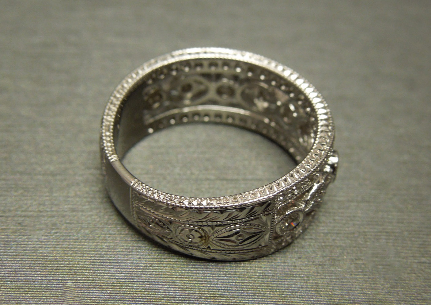 Estate Filigree Wide Diamond Wedding Band 18KT