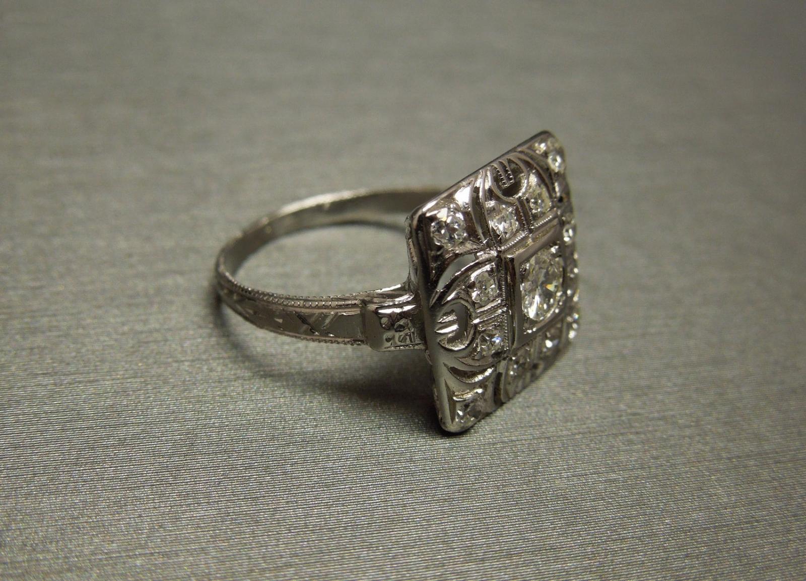 Art Deco Square Diamond Engagement Ring 42tcw C1940