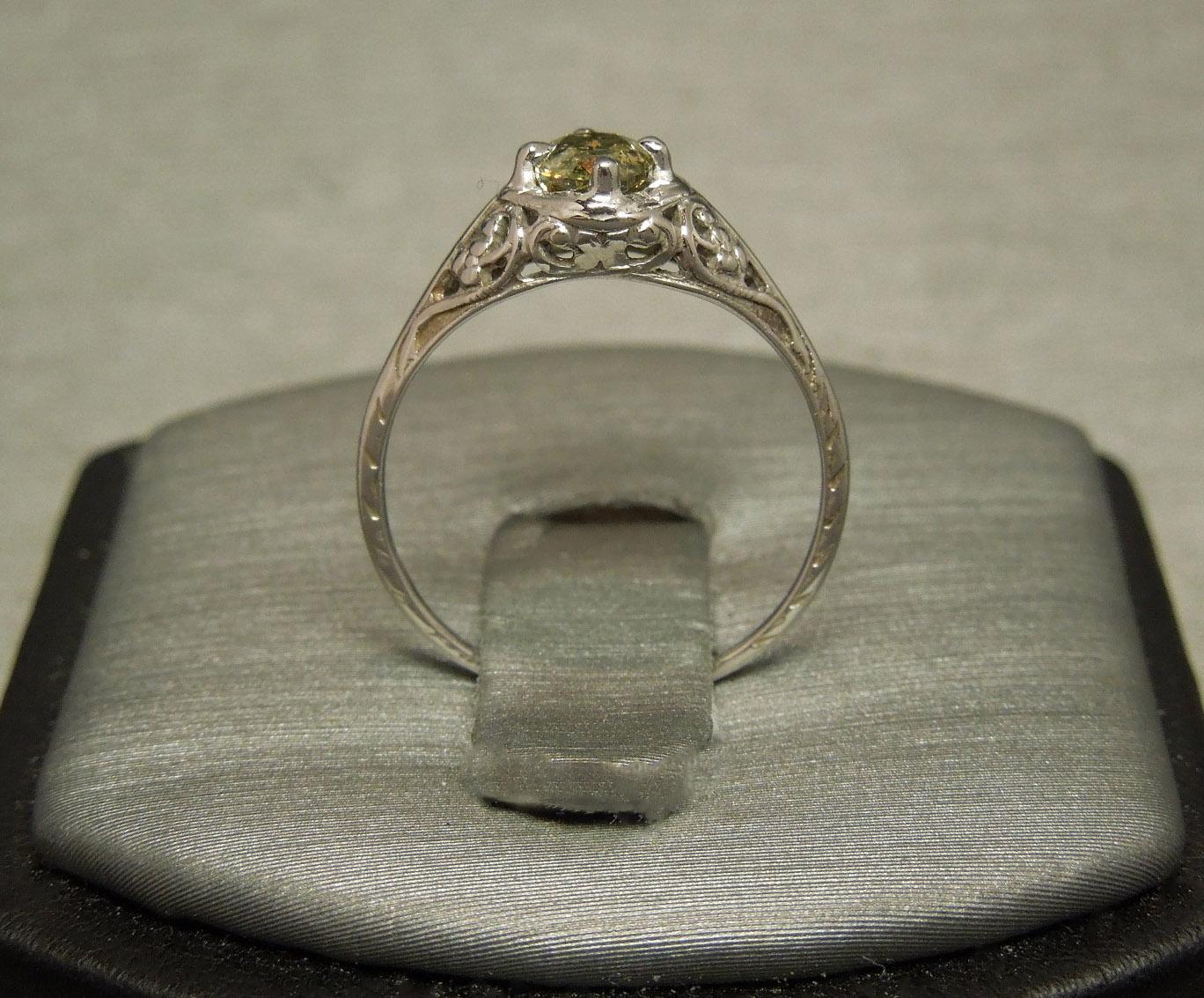 Antique Filigree Green Diamond 57ct I2 Solitaire