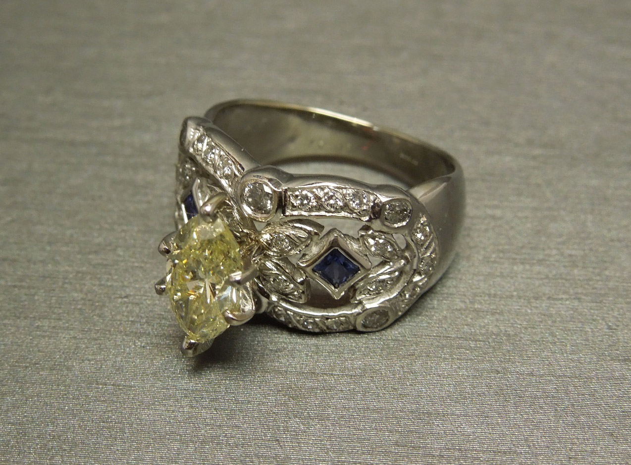 2 02tcw Fancy Marquise Cut Si2 Canary Diamond Engagement Ring