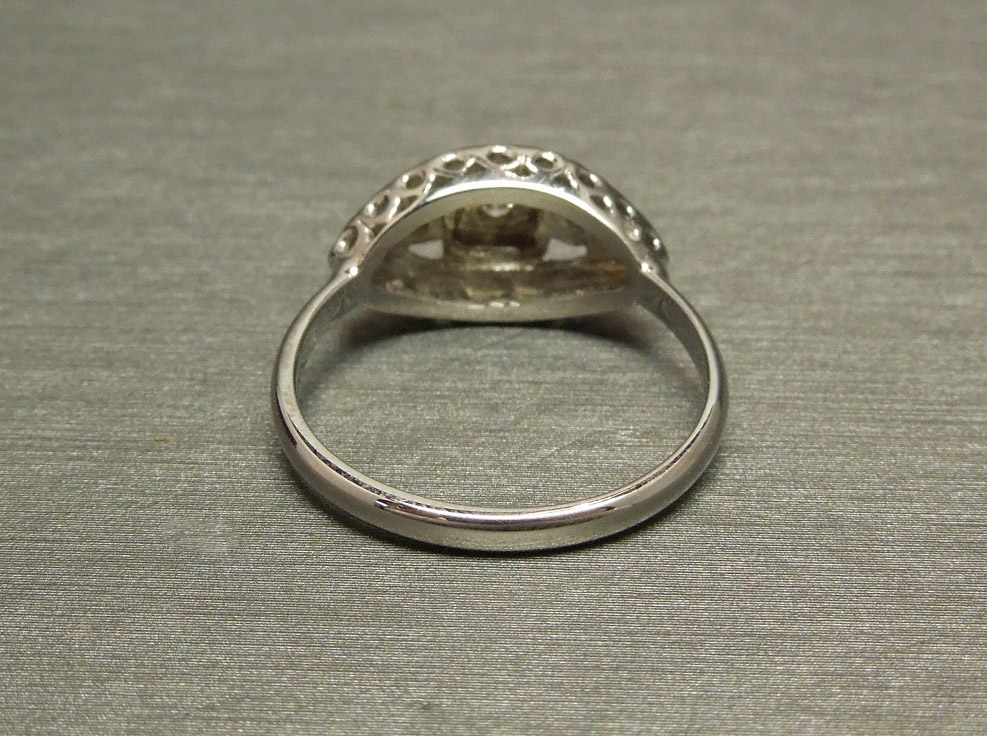 14k Diamond Princess Antique Low Profile Engagement Ring C1930