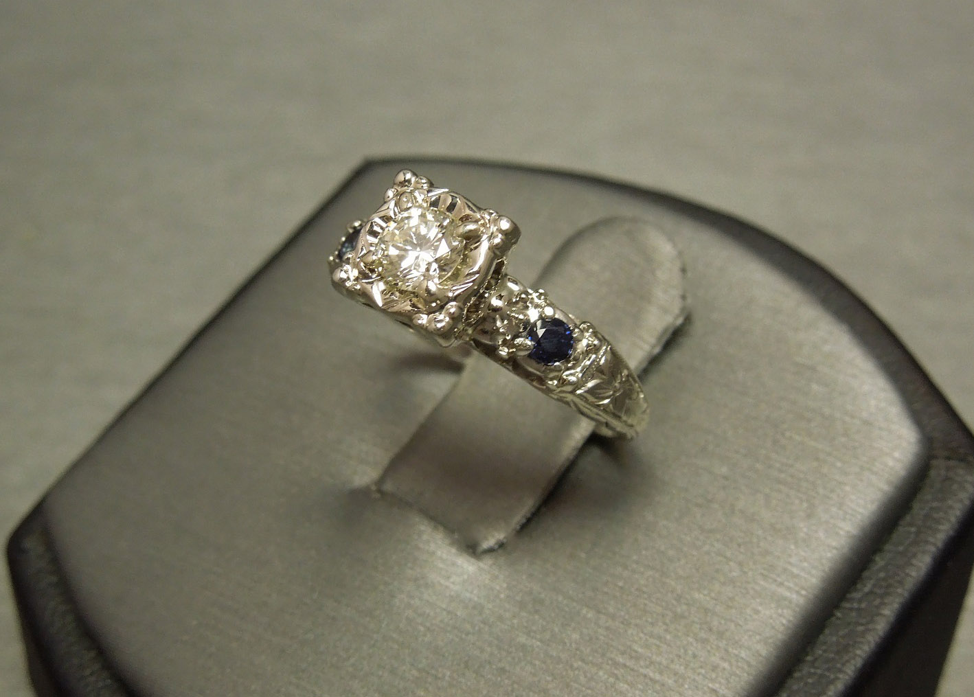 White Gold Square Diamond Solitaire Sapphire Engagement C1950
