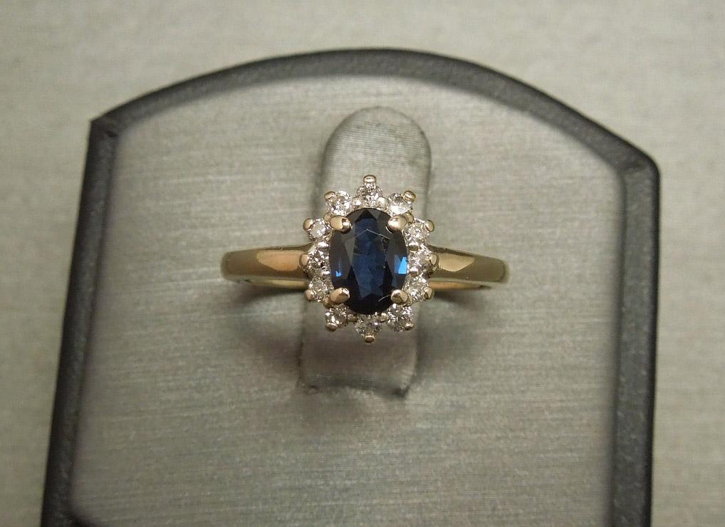Princess Diana Wedding Ring.14kt Gold 1 36tcw Princess Diana Style Sapphire Solitaire Diamond Halo Ring C1980