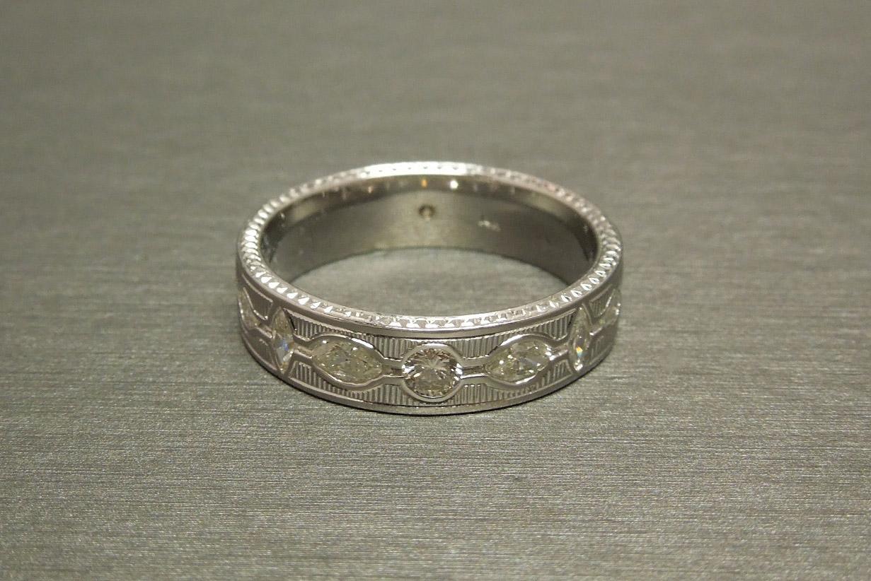 Art deco men 39 s 14k fancy diamond eternity wedding band for Mens eternity wedding band