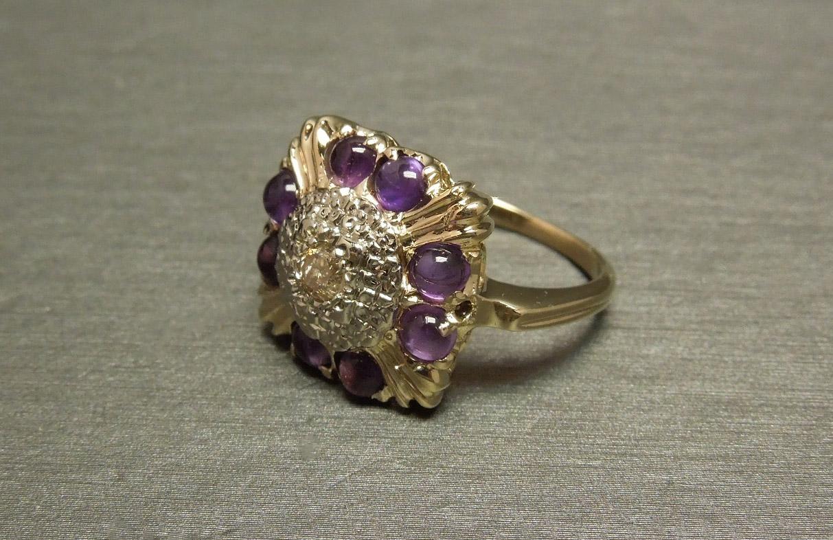 Antique 10k 1 35tcw Diamond Square Amethyst Statement Ring