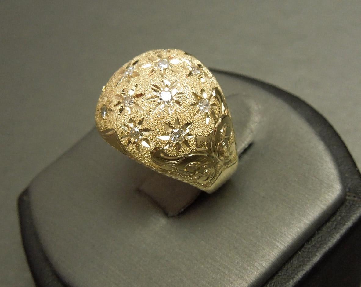 Engraved 14k Gold 0 60tcw Diamond Fleur De Lis Dome Ring C1950