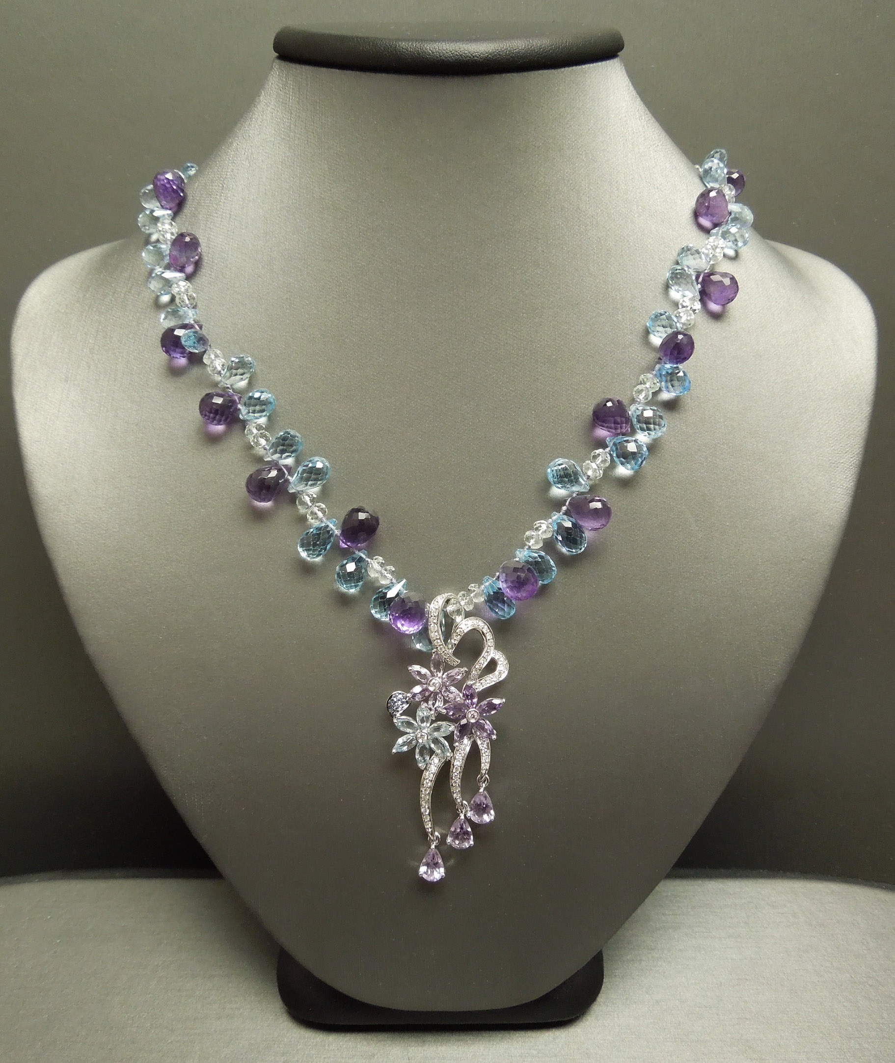 14k 18k 137 85tcw Amethyst Blue Topaz Floral Diamond Necklace