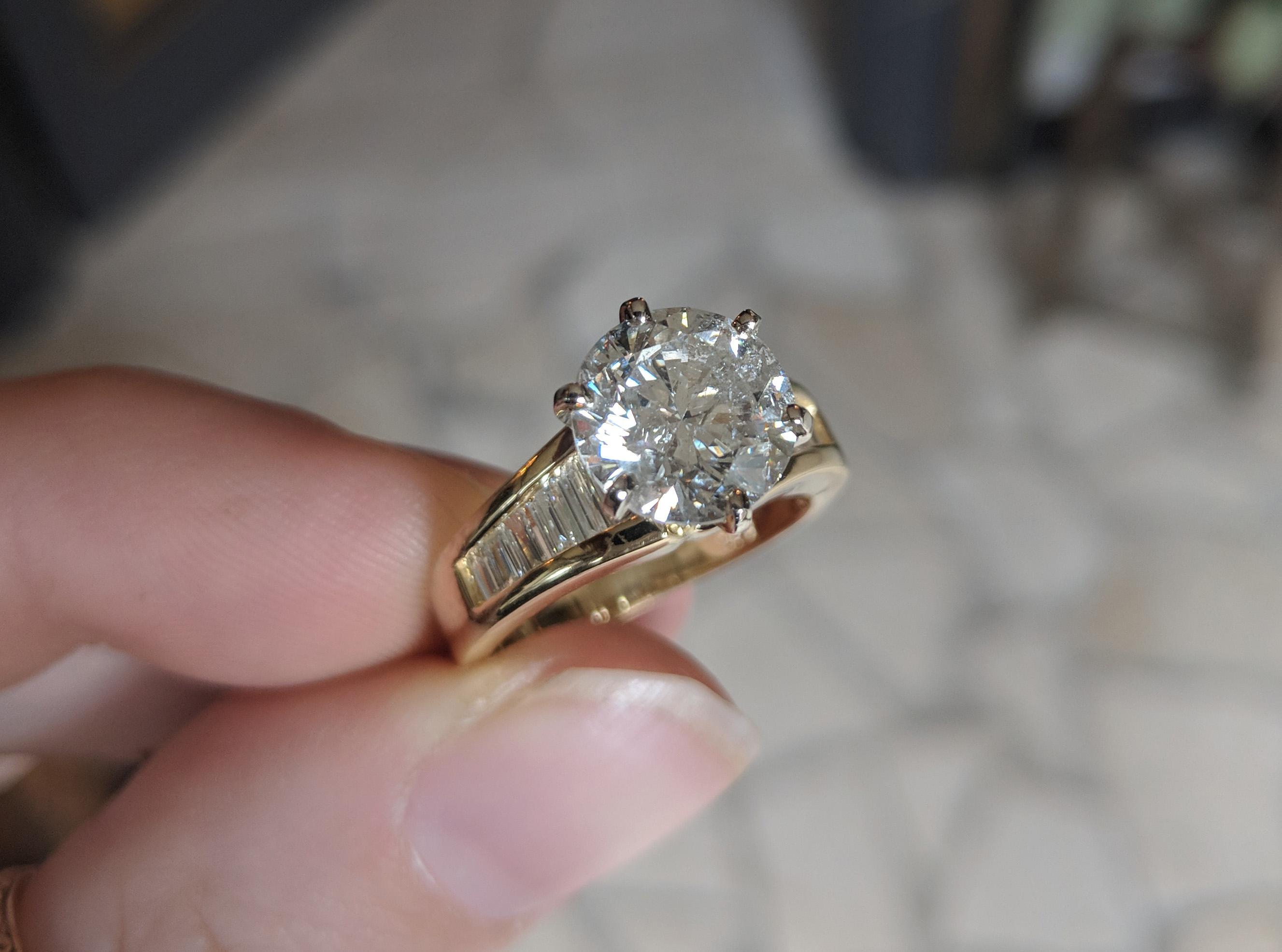 18k 3 Carat Diamond Solitaire Amp Channel Baguette Engagement Ring