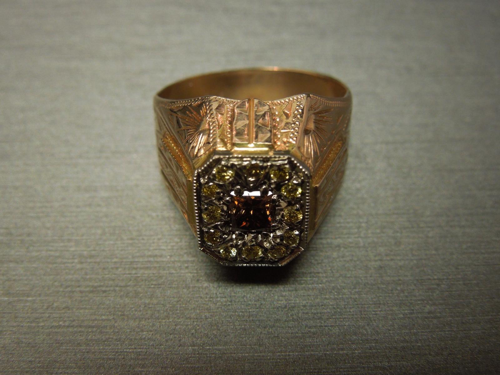 Mens Art Deco Diamond Ring 1 35 Tcw Egyptian Engraved
