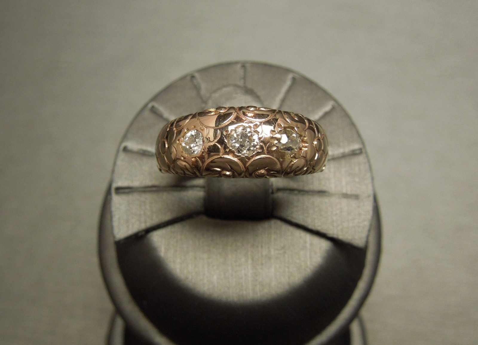 Victorian Rose Gold Diamond Gypsy Wedding Band C1890